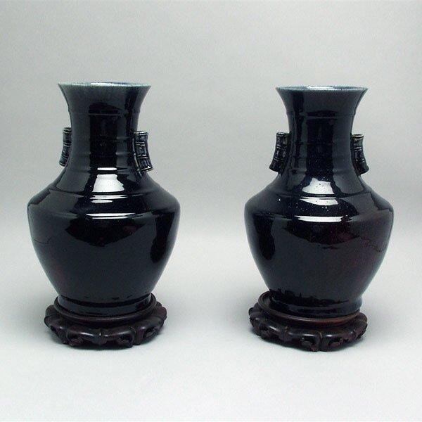 12: Pair of Chinese Cobalt Flambe Vases w/ Ring Handles