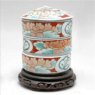 Set of Japanese Imari Stacking Sweetmeat Containers