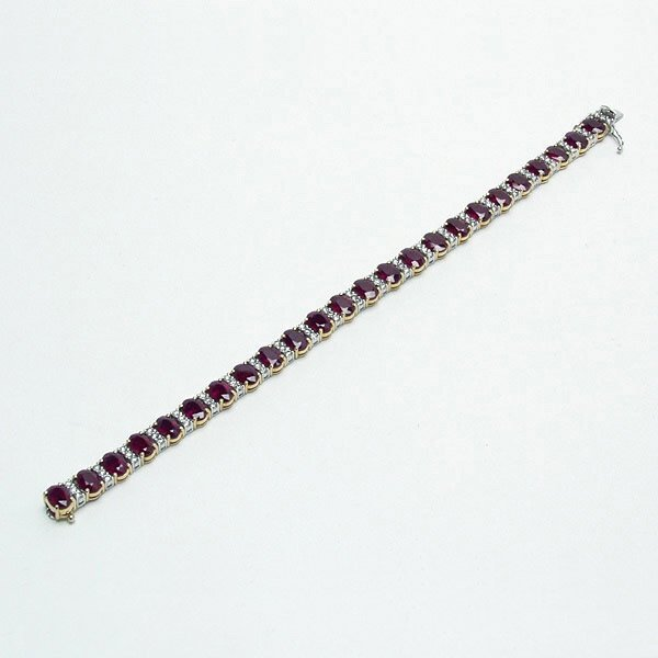 308: Ruby, Diamond, 18K Yellow and White Gold Bracelet