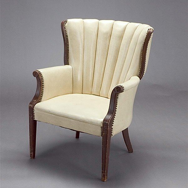 1015: Leather Upholstered Library Chair