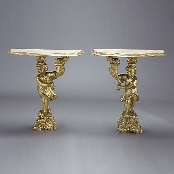 1017: Pair of Giltwood Console Tables