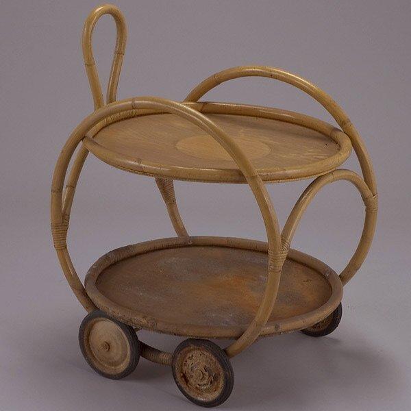 1019: Rattan Drinks Cart and Bar Stools