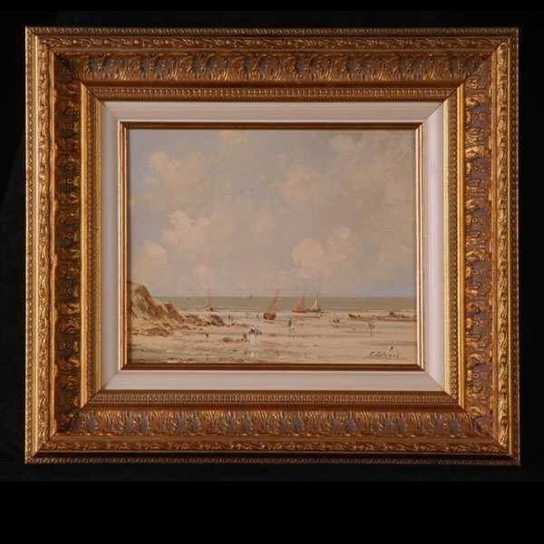 1005: Pierre Stefani, Seashore Oil Painting