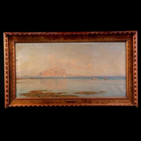 1016: Mirabella, Italian, View of Naples, Oil