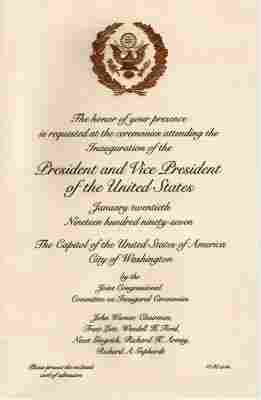 President Clinton Inauguration Items, Carter Card