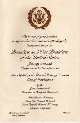 6: President Clinton Inauguration Items, Carter Card