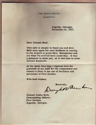 Pres Eisenhower Autograph Letter, 11 Photos