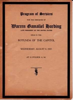 Warren G. Harding, Funeral Service Program