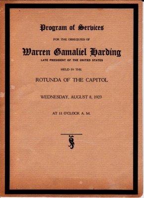 11: Warren G. Harding, Funeral Service Program