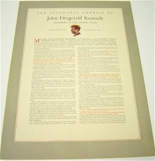 John Kennedy 1961 Inaugural Address Broadside