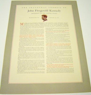 20: John Kennedy 1961 Inaugural Address Broadside