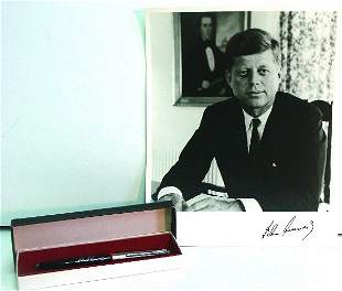 JFK signature pen & photograph;