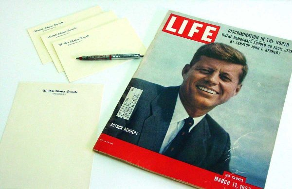 3: US Senate stationery & JFK magazine