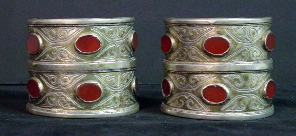 2: Turkish Silver and Carnelian Cuff Bracelets