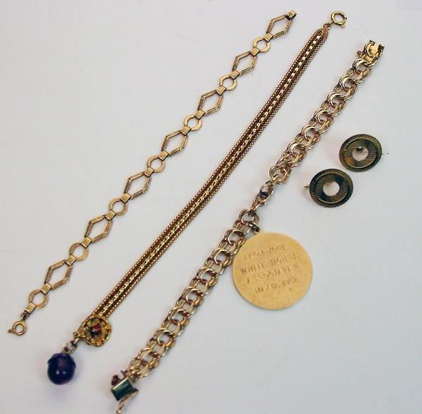 9: Yellow Gold Charm Bracelet, Earrings, Enameled Charm