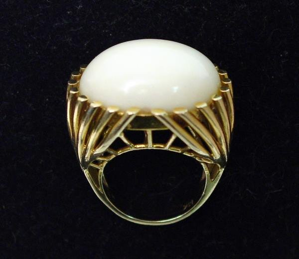 10: 14K Yellow Gold and Angel Skin Coral Cabochon Ring.