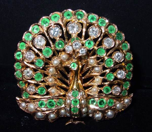 14: Yellow Gold Diamond Emerald & Pearl Peacock Brooch