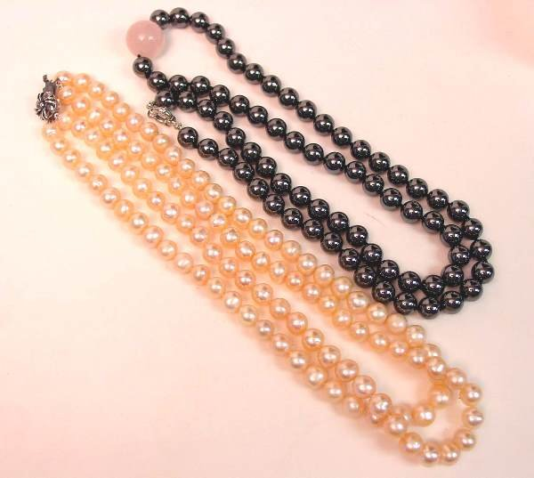 16: Pearl and Hematite Necklaces