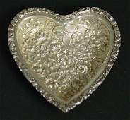 105: Sterling Silver Repousse Heart Pin Dish