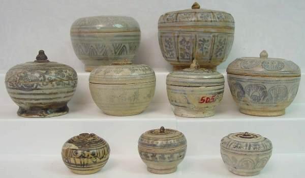 442: Thai Sawankhalok Stoneware Covered Boxes