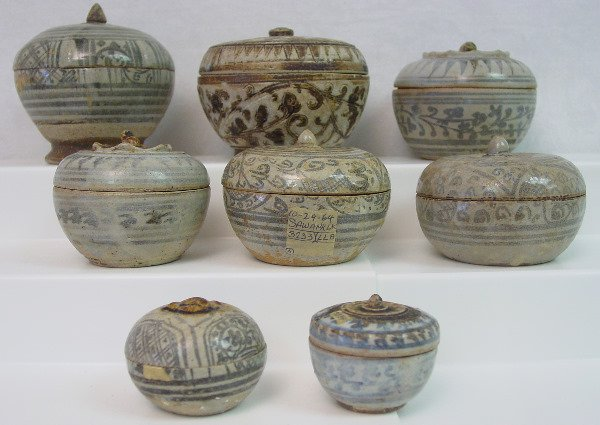 444: Eight Thai Sawankhalok Ceramic Boxes