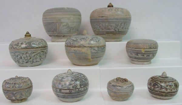 445: Nine Thai Sawankhalok Stoneware Covered Boxes