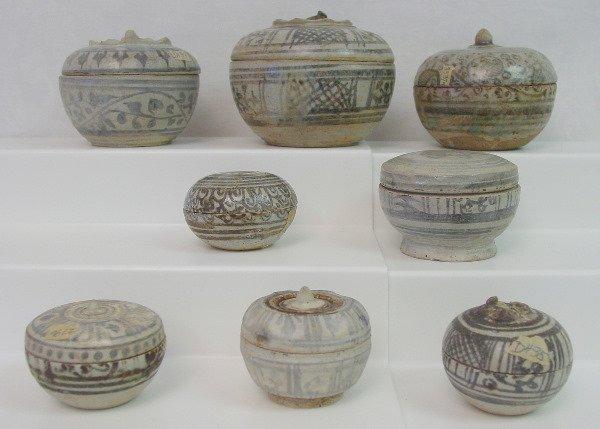 446: Eight Thai Sawankhalok Ceramic Boxes