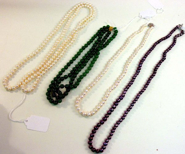 1023: Cultured Pearl & Jadeite Necklaces