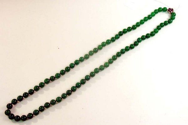 1024: 8MM Green Jadeite Necklace