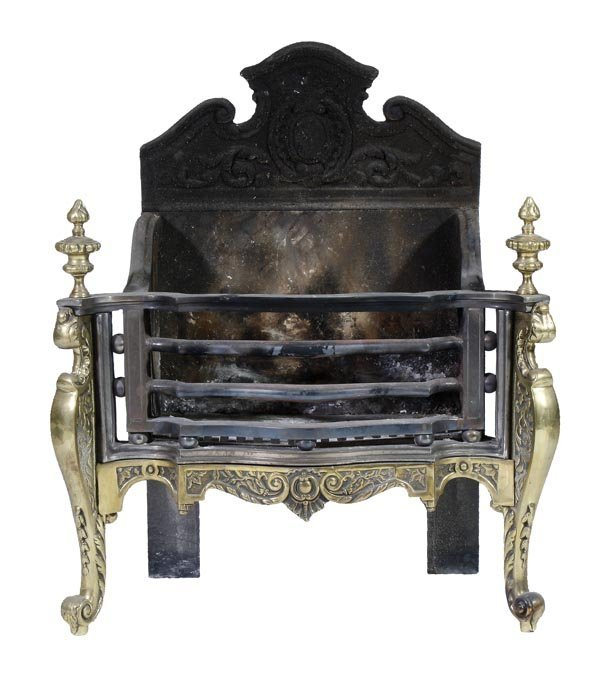 A steel and brass mounted firegrate in Continental
