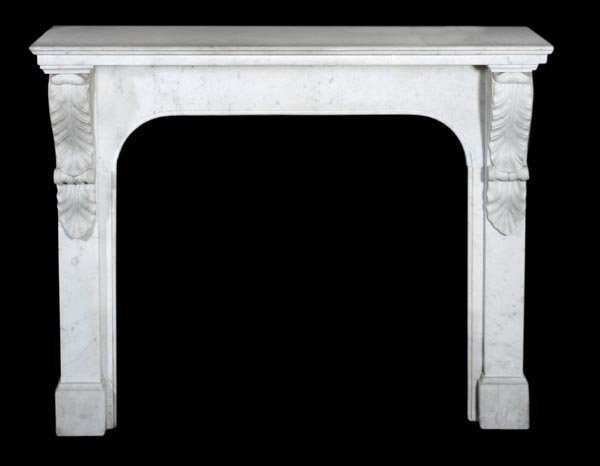 A French white and speckled grey marble chimneypie