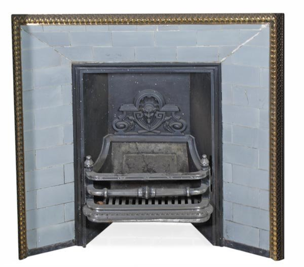 A Victorian cast iron, bronze mounted and ceramic