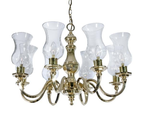 A brass eight light chandelier in the late 17th/ea