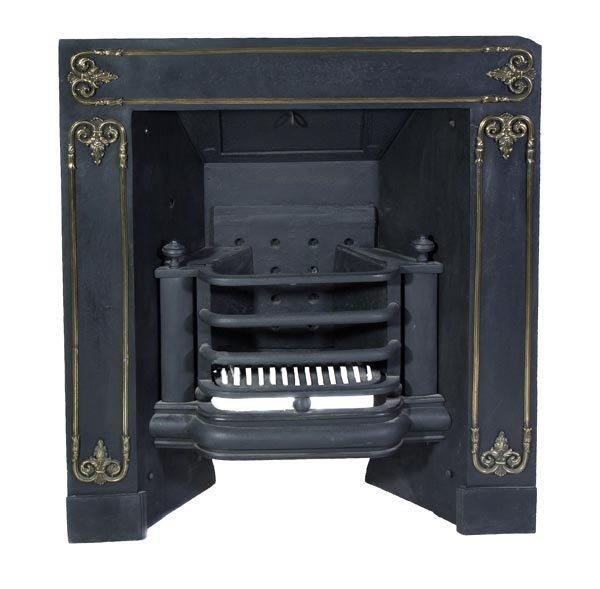 A Regency cast iron and brass mounted firegrate an