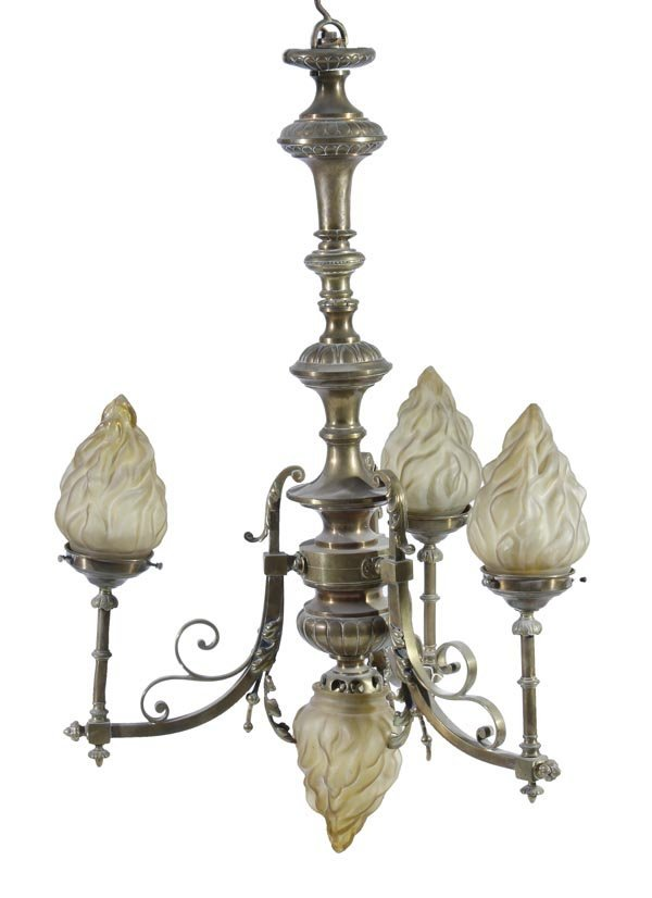 An Edwardian brass and opaque glass mounted four l