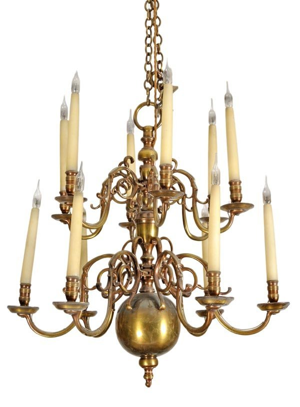 A brass twelve light chandelier in the late 17th c