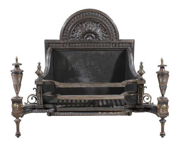 An Edwardian cast iron, steel and brass mounted fi