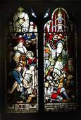 A pair of Victorian stained and leaded glass windo