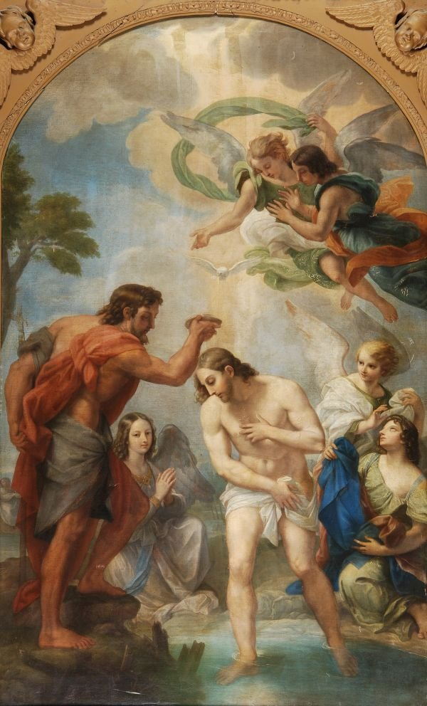 After Carlo Maratta The baptism on Christ Oil on c