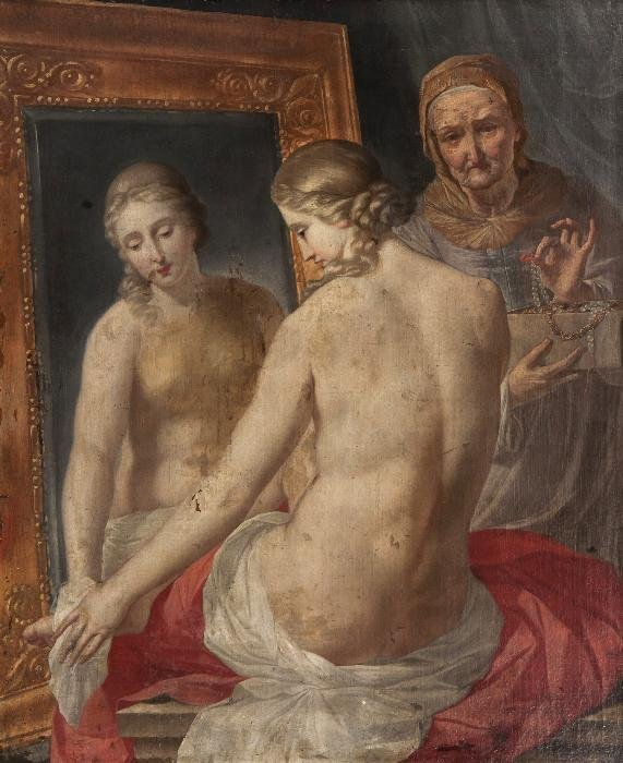 French School (17th century) A nude woman dressing