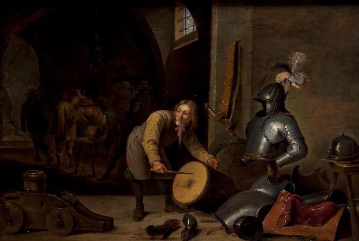 Circle of David Teniers An interior of an armoury