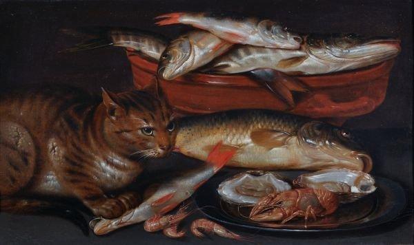 Clara Peeters (Antwerp c.1598-c.1657) A cat sittin