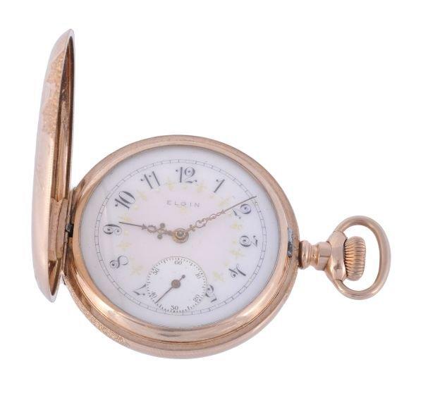 Elgin, a gold plated hunter pocket watch,  no. 155