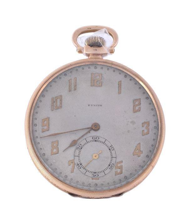 Zenith, a 14 carat gold openface pocket watch,  ci
