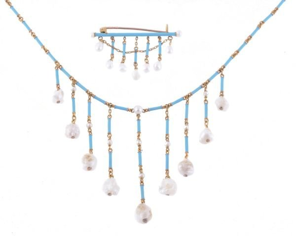 An Etruscan style blue enamel and freshwater pearl