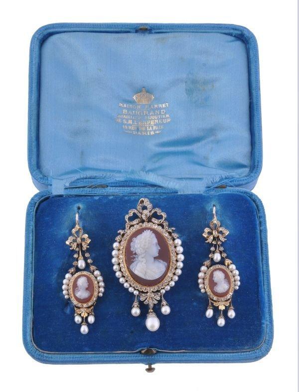 A 19th century hardstone cameo, diamond and pearl