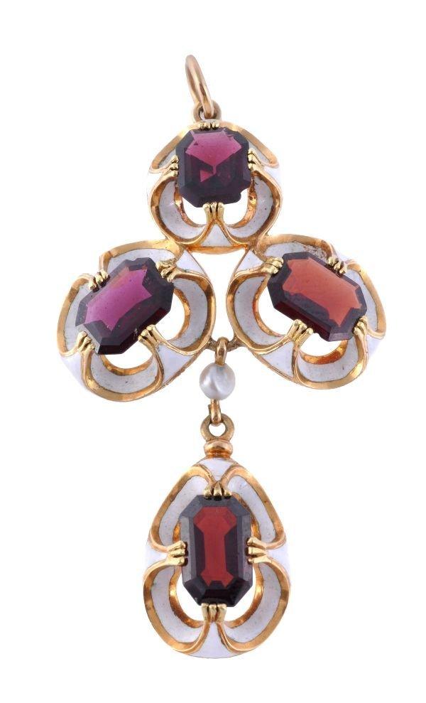 A 19th century garnet and enamel pendant,  compose