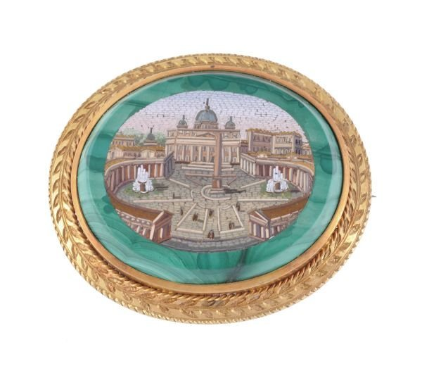 A late 19th century gold and micro mosaic brooch,