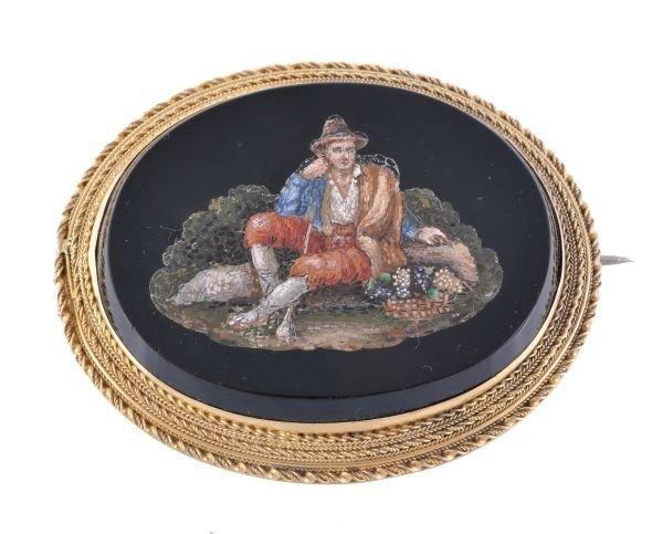 A late 19th century micro mosaic brooch,  circa 18