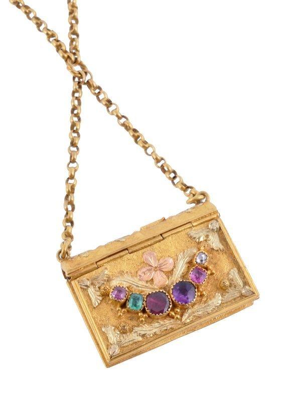 A Regency gold and gem Regard book shaped locket,